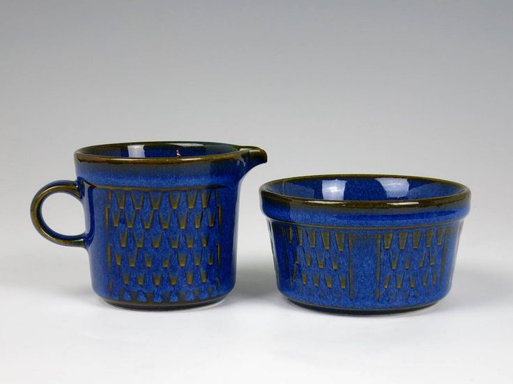 Maria Philippi Blue Granit Cream and Sugar - Cobalt Blue Soholm Denmark Stentoj Pottery Creamer and Sugar - Vintage Søholm Denmark Stentøj by EightMileVintage on Etsy