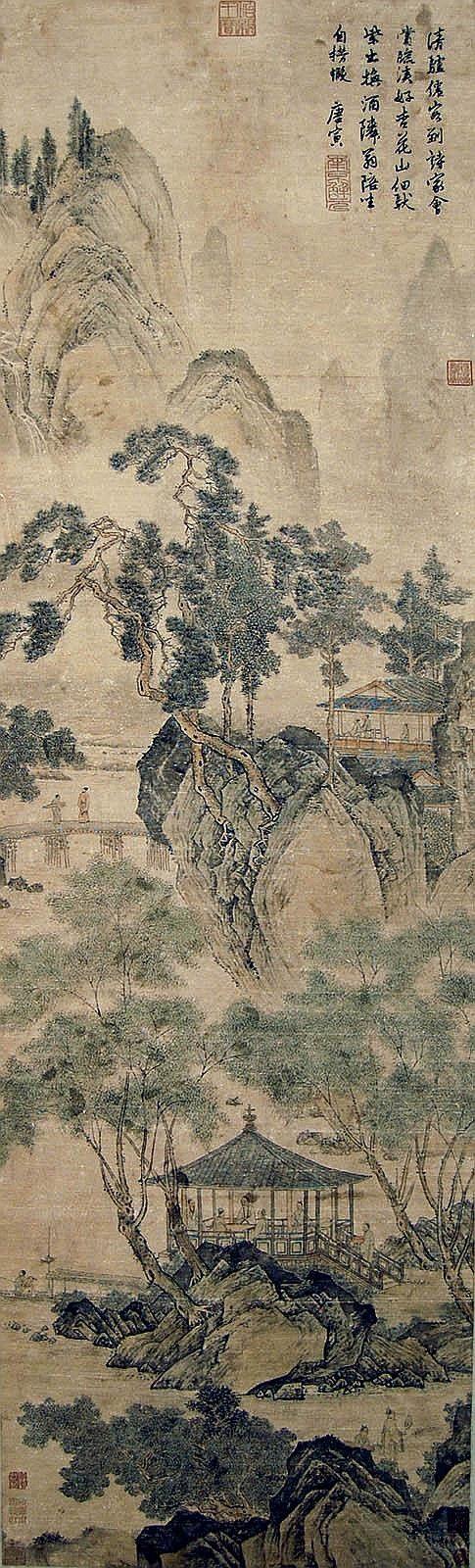 明 唐寅 (1470 - 1523) 遊春圖 Tang Yin  Ming Dynasty  Spring Outing