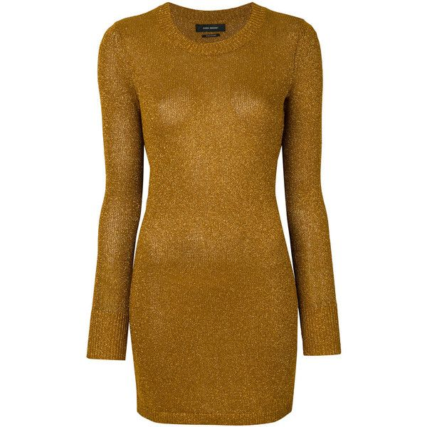 Isabel Marant sparkly sweater dress (8.398.630 VND) ❤ liked on Polyvore featuring dresses, metallic, brown dresses, boho dresses, long sleeve sparkly dress, sparkly dresses and long-sleeve sweater dresses