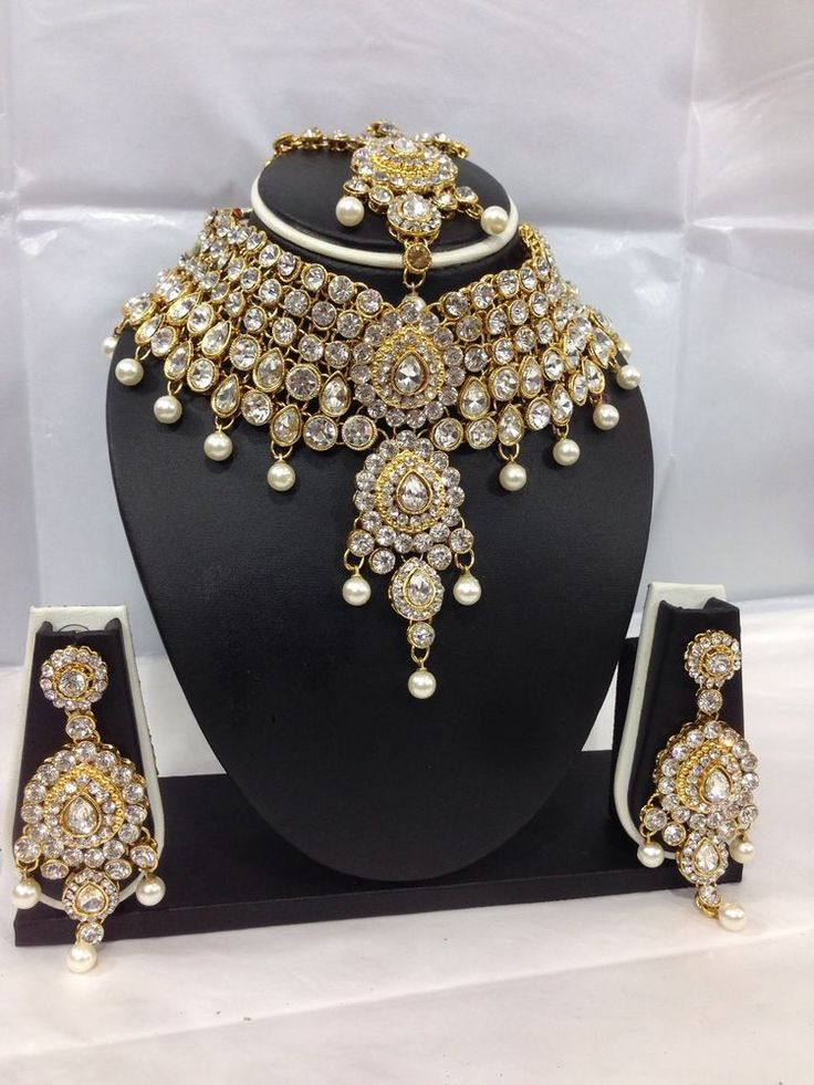 Indian Bollywood Costume Jewellery Set Choker Stone Pearl Gold Party Bridal Wear