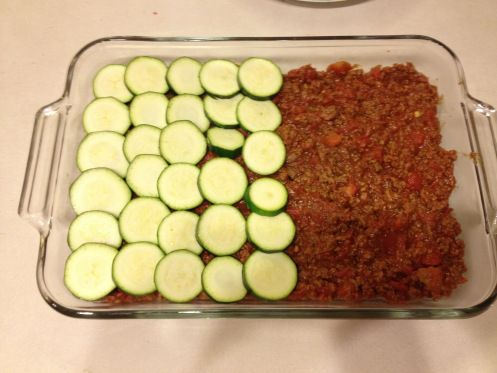 zucchini lasagna--I added a layer of ricotta/parm cheese in between the zucchini and meat sauce. Easy recipe, in freezer now for a quick week night dinner. Excited to try it!!