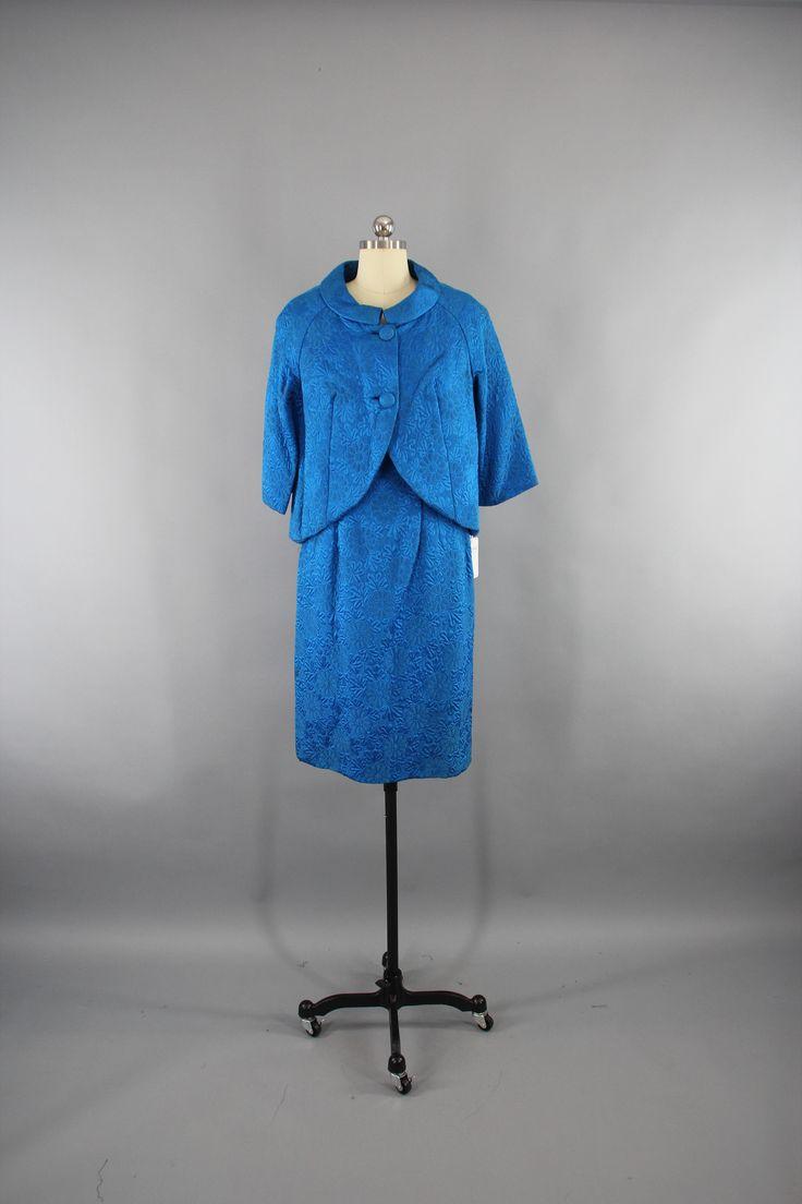 Vintage 1960s Day Dress & Jacket Set / Electric Blue