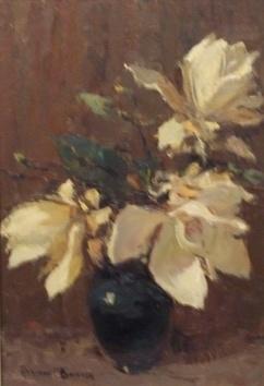 Magnolia flowers oil painting by Adriaan Boshoff