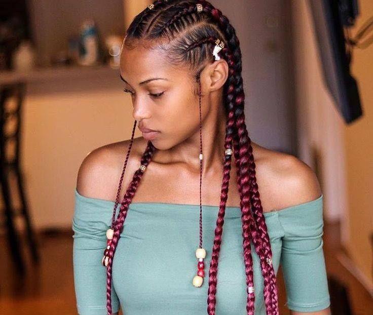 Braids Colorees Baguees Et Perlees Coiffure Coupe De Cheveux Coiffure Braids