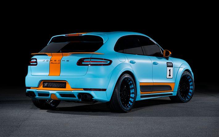 Scarica sfondi Porsche Macan S, 2017, Hamann, blu Brillante, tuning Macan, tedesco auto, SUV, tuning, Porsche