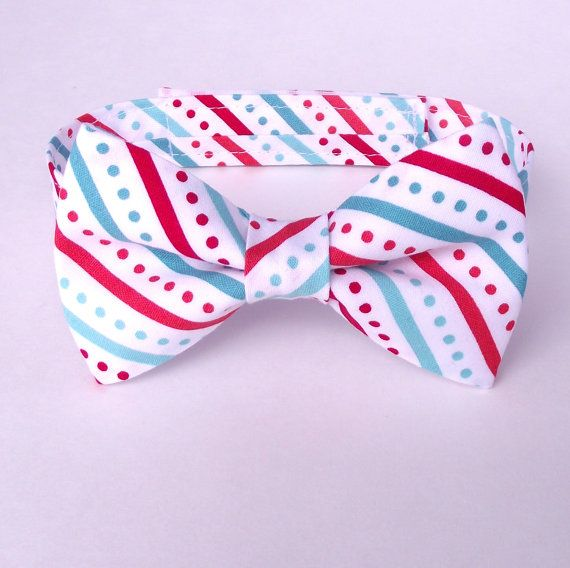 Christmas Bow Tie, Aqua and Red Bow Tie, Striped Bow Tie, Bias Stripe, Diagonal Stripe, Ring Bearer, Coral, Teal, Jade, White, Polka Dots