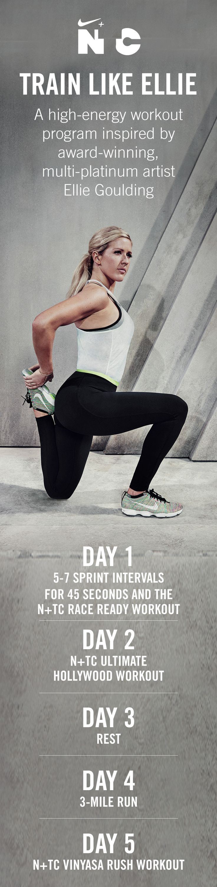 Kick-start your week with the Train Like Ellie Goulding 5-day challenge. Day one starts now. Head to the Nike+ Training Club app to get started.