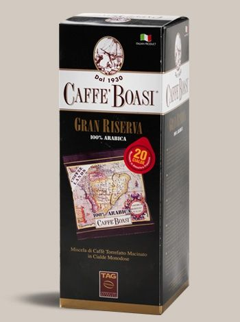 Pods Boasi Gran Riserva 20 Pieces - Fine blend of fine coffees from plantations of the best Brazilian regions and fragrant coffee from the highlands of Central America with the aroma of fruits and flowers. Delicate blend, aromatic and fragrant coffee for real experts. PACKAGES: Pods