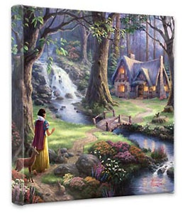 Snow White and the Seven Dwarfs - Snow White Discover's the Cottage - Gallery Wrapped - Thomas Kinkade - World-Wide-Art.com - $79.00 #Disney #Kinkade