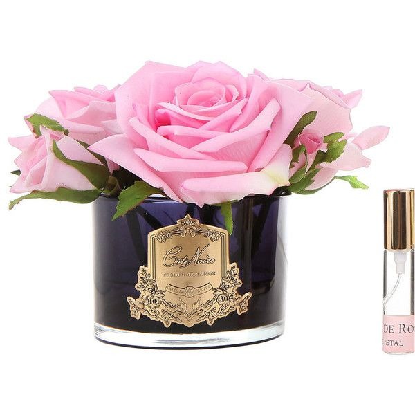 Côte Noire Roses in Black Glass with Giftbox - Pink ($58) ❤ liked on Polyvore featuring home, home decor, floral decor, pink, silk flower arrangement, artificial silk flowers, faux flowers, fake flower bouquets and faux florals