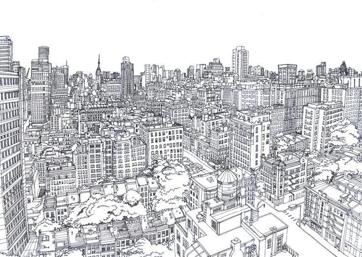 Line Drawing Of Upper East Side Manhattan By Abigail Daker Via Behance