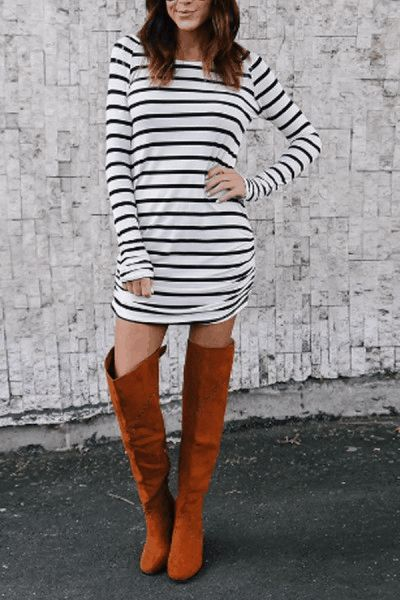 Round Neck Asymmetric Hem Striped Bodycon Dresses $18.00