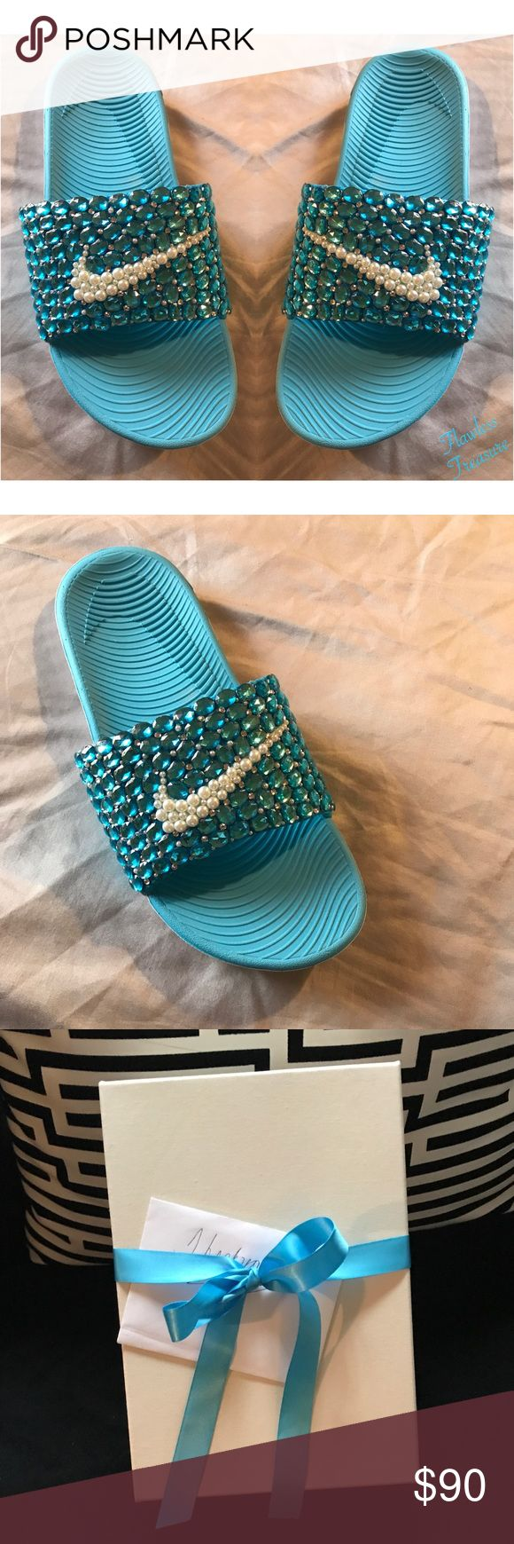 Customized Nike Slides made to order by~F.Treasure Iceberg customized Nike slides By Flawless Treasure, made to order slides come in a variety of styles & colors you may even choose your own colors, they are high demand on my online store & come on all sizes from kids to adults, these particular pair are known as our Iceberg Slides they give a icy look & the glistening is sexy! All products come gift boxed ~Flawless Treasure Nike Shoes Sandals