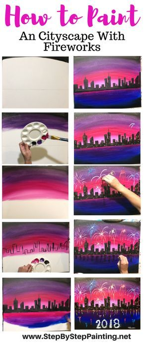Step by step painting of New Year's Eve Cityscape Fireworks. Tracie's Acrylic Canvas Tutorials.