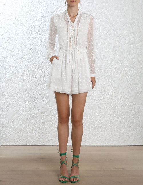 6d66463c1d62 Zimmermann Radiate Tie Up Playsuit. Model Image.