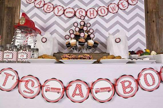 Baby Shower Decorations Firetruck Theme by getthepartystarted