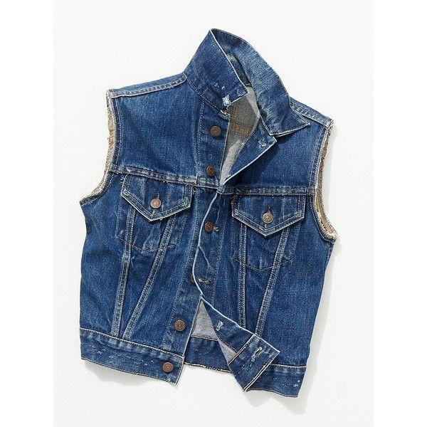 Vintage 1970s Studded Denim Vest ($168) ❤ liked on Polyvore featuring outerwear, vests, studded denim jackets, denim vest jacket, denim vest, studded jean jacket and blue denim jacket