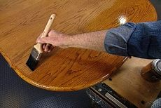 Strip, Stain and Recoat Your Old Wooden Table Top to Restore the Scarred Oak Veneer to a Beautiful New Finish