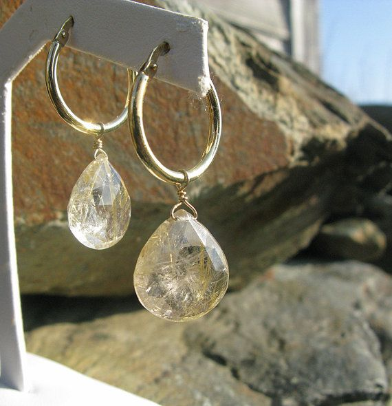 Rutilated Quartz Briolettes on Gold Hoop #Earrings by BijouxPdE #Jewelry Design #HandMadeJewelry