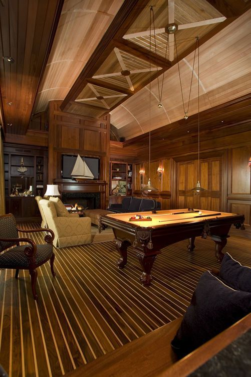 Beautiful Billiards room. Love the Nautical Theme; Could use some Blue & Yellow