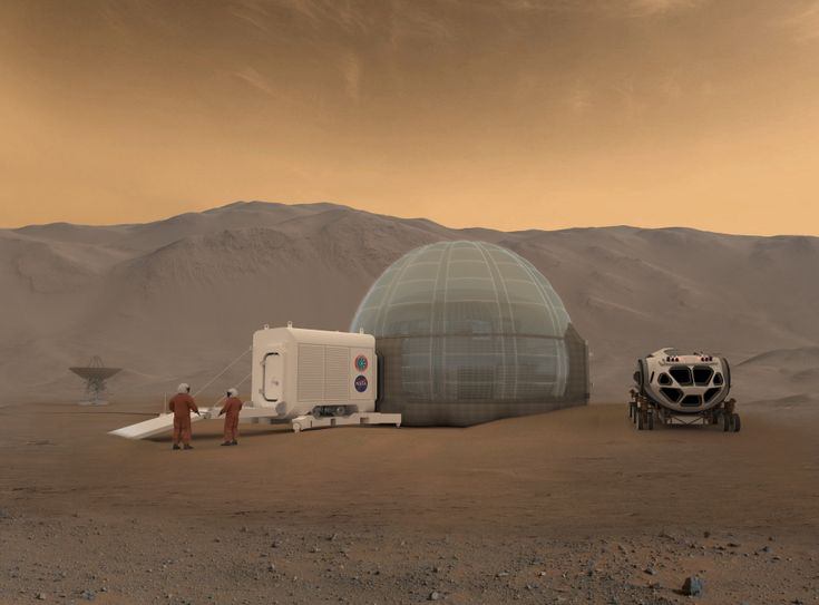 NASA Langley's newest round of design troubleshooting for life on Mars has come up with some intriguing design solutions. With the extreme cold, unbreathable atmosphere, and rainbow of radiation types, astronauts landing and living on the red planet will have to be well protected as soon as they arrive.