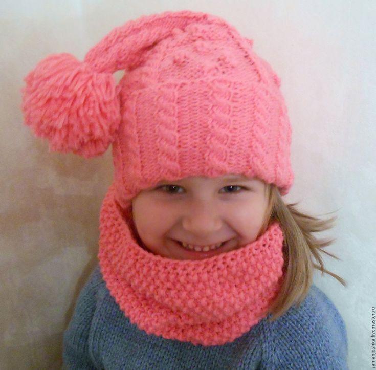 Купить Шапка и снуд для девочки - шапка вязаная, шапочка для девочки, шапка колпак, снуд