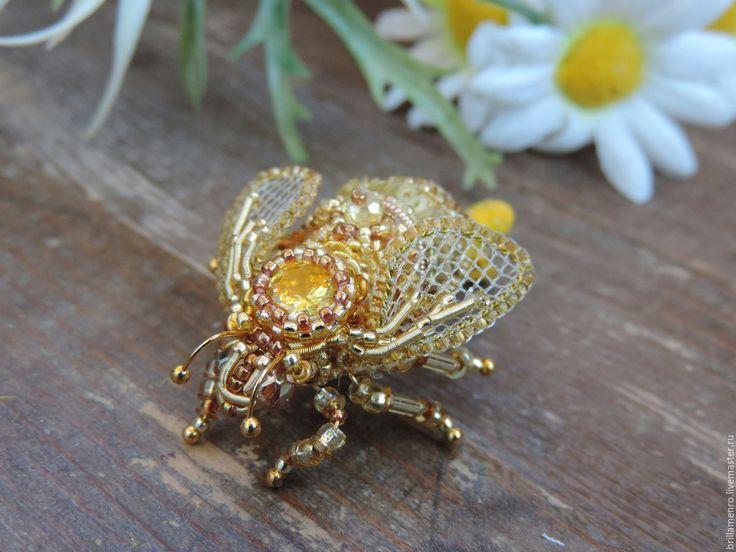 """Купить Заколка для волос """"Золотая пчелка"""" - золотой, пчелка, пчела, насекомые, насекомое, заколка для волос"""