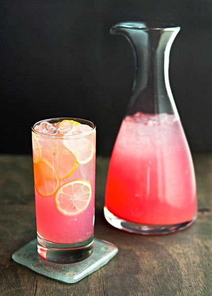 Grown up Pink Lemonade - vodka, diet cherry 7UP, light beer, pink lemonade Crystal Light, lots of ice, lemon garnish