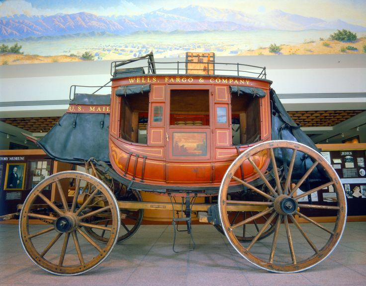 """Kentucky"" Concord Stagecoach number 599 on display at the Wells Fargo History Museum in Los Angeles, CA."
