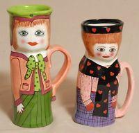 "2 Susan Paley Lady Vase Mug Cups by GANZ  7"" Nicole and  8""  Mary Mocha Retired"