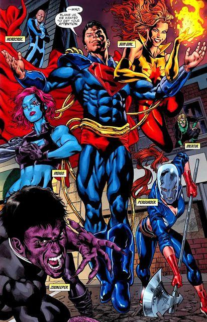 SUPERBOY-PRIME (ARMADURA SOLAR) Cuando los Flashs le envían a otro Universo, bañado por un Sol Rojo, Superboy-Prime se construye una armadura con piezas del destruido Antimonitor... La armadura canaliza y almacena la energía de la luz del Sol amarillo, para que cuando no está debajo del Sol siga manteniendo su poder, demasiado dependiente...