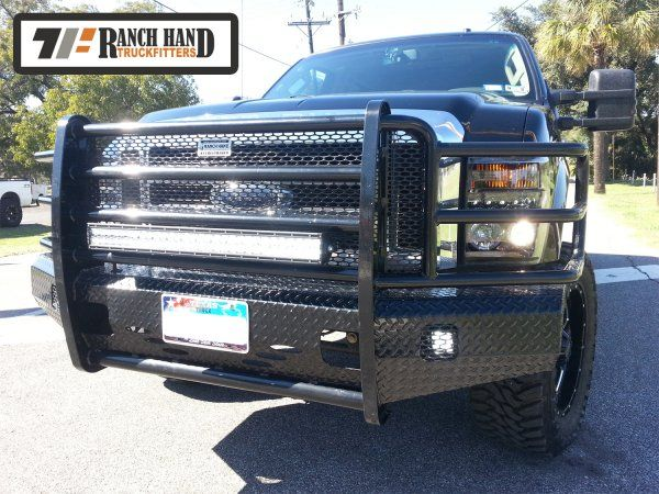 Ford Superduty with Ranch Hand Summit Front Bumper and Rigid LED Light Bar