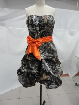 Mossy Oak Prom Dresses | Bodice has pleating and beading on the pleats. Shown in mossy oak and ...