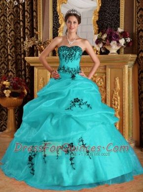Turquoise Ball Gown Sweetheart 15th Birthday Dresses  Satin and Organza Embroidery