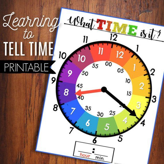 Learn To Tell Time Printable Clock Kids Learning Game