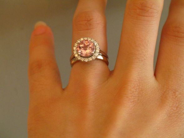 I have a morganite in white gold. It can look like peach, blush pink, or lavender pink depending on the light. I chose white gold because I wear silver jewelry and I think rose gold would be mistaken for yellow gold usually. I may get a rose gold band at some point though.      Found on Weddingbee.com Share your inspiration today!