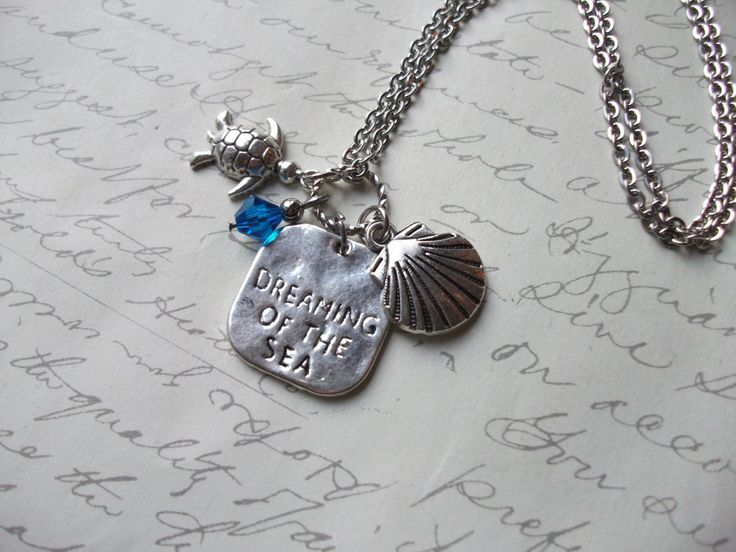 Dreaming of the sea charm necklace with turtle shell and blue crystal de la boutique BijouxdeBrigitte sur Etsy
