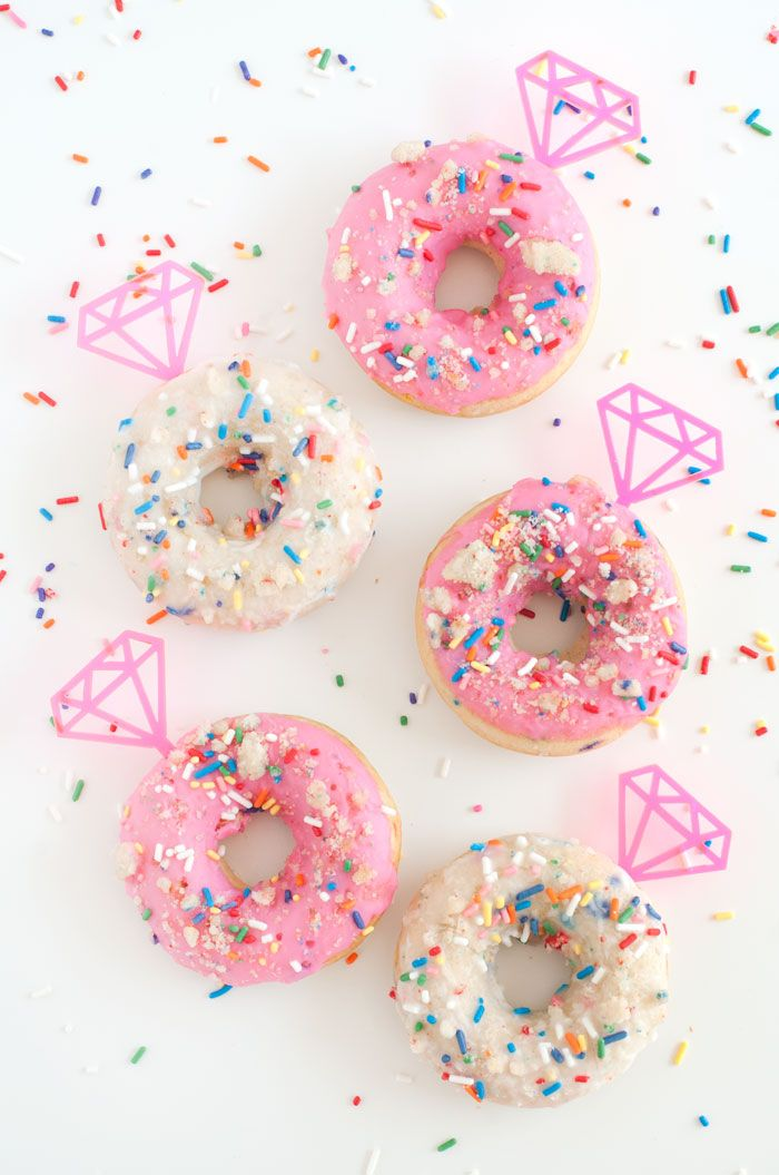 Birthday Cake Doughnuts with Gem Toppers | Sprinkles for Breakfast