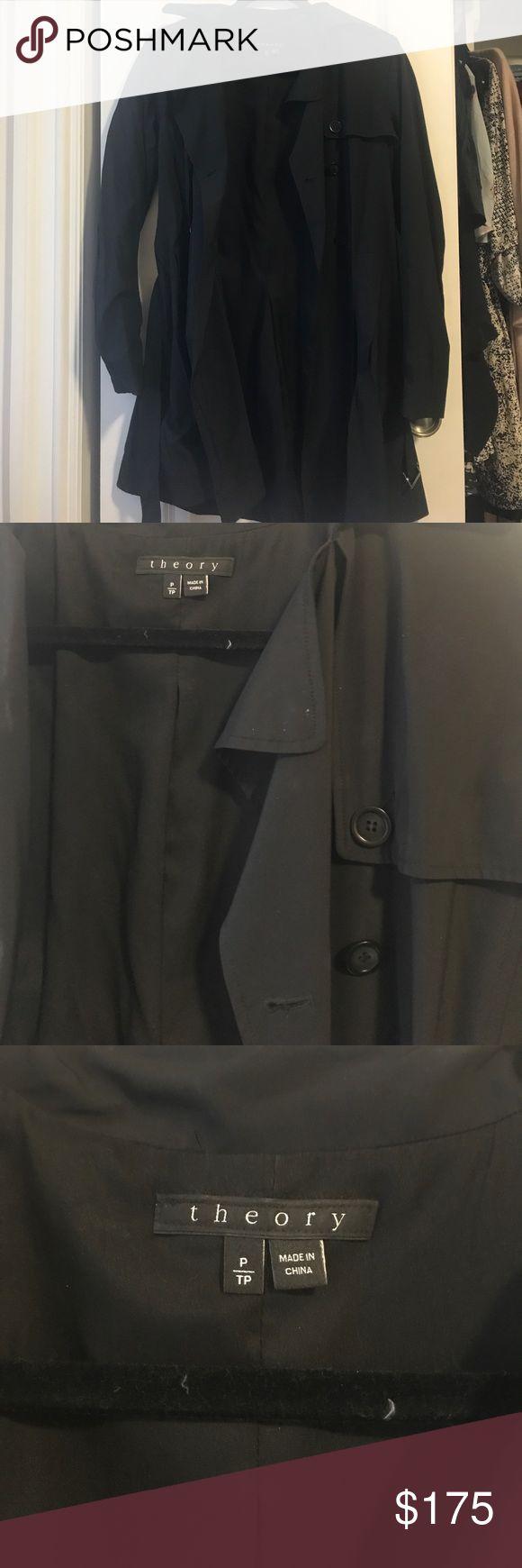 Theory black raincoat size P Theory raincoat. Size P Theory Jackets & Coats Trench Coats