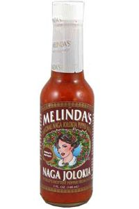Melinda's, Naga Jolokia Hot Sauce. Made from ghost chillies - flavorful, but also one of the hottest sauces I've ever had. The burn lasts for about 15 minutes after you eat it.