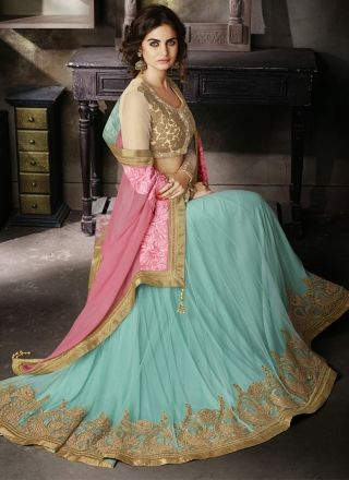 Captivating Turquoise And Pink Designer Reception Wear Lehenga Saree http://www.angelnx.com/Sarees/Lehenga-Sarees#/sort=p.date_added/order=DESC/limit=32/page=3
