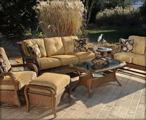 Casual Classics  Pinehurst Offers The Beauty Of Wicker In An All Weather  Outdoor Weave. Gliding Loveseat And Action Lounge Add To The Comfort Of  This Group.