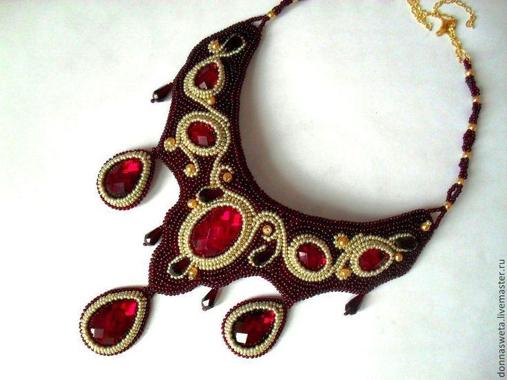 Купить Колье из бисера Королева Марго. - ярко-красный, красный, красивый подарок, красивое украшение