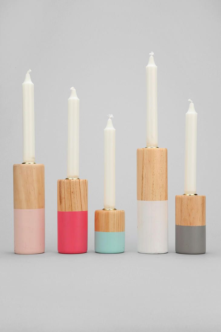 Dip-Dye Candlestick Holder - Set Of 5