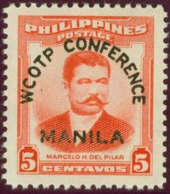 1956, August 1.  WCOTP Conference Overprint (World Confederation of Organizations for the Teaching Profession); 1952 Marcelo H. del Pilar Overprinted in Black; 5c - Singles, Sheets of 100.