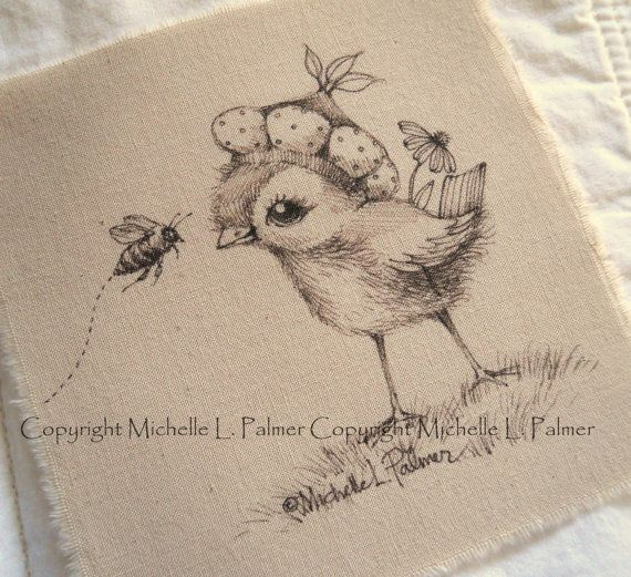 Original Pen Ink on Fabric Illustration Quilt Label by Michelle Palmer Bird Baby Sparrow Bumble Bee
