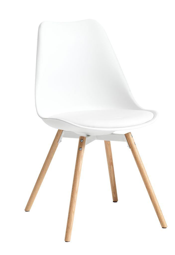 Jídelní židle KASTRUP koženka bílá/dub | JYSK