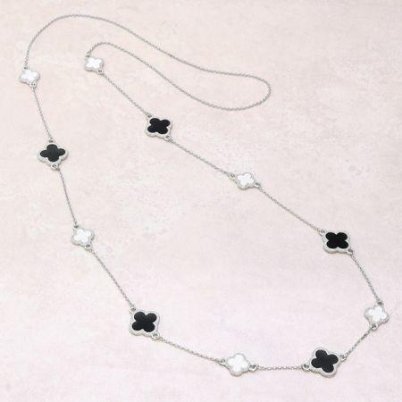 キット KW16-4-2 ジョイントパーツ4弁花のロングネックレス ブラック