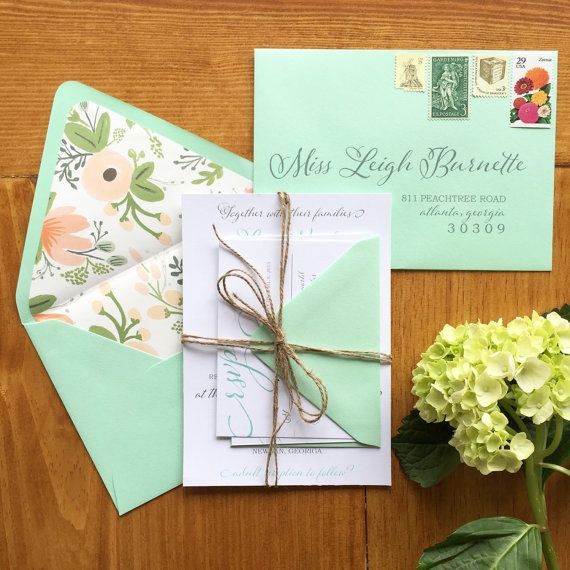 Rustic Glam Wedding Invitations | Mint Wedding Invite | Floral Invitation | Peach Wedding