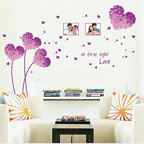 adhesivos vinilos decorativos para pared plantas de corazn para dormitorio salon habitacin removible